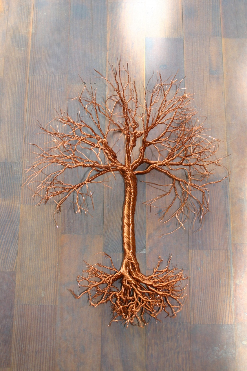 Wire Bonsai Tree Sculpture Tutorial 15 Hanging Copper Wire Tree Art Great For Autumn Decor Lorenzo Sculptures Wire Bonsai Tree Sculpture Tutorial